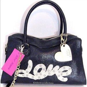 BETSEY JOHNSON Black Handbag LOVE Crossbody Purse
